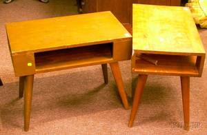 Pair of ConantBall Modern Maple End Tables