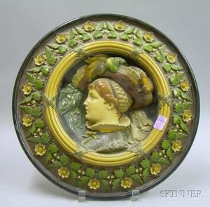 R Bichweiler Handpainted Pottery Portrait Wall Plaque