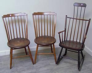 Pair of Windsor Stepdown Side Chairs and a Windsor Combback Thumbback Armrocker