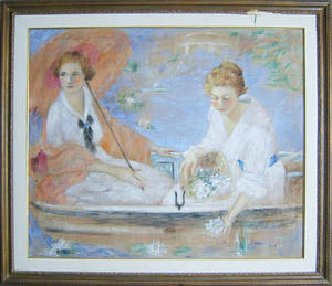 Oil on canvas impressionist scene signed J Ross