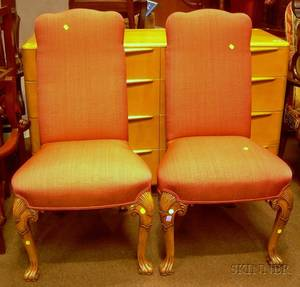 Pair of Queen Anne Style Upholstered Carved Walnut Side Chairs