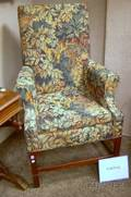 Pair of Smith  Watson Georgianstyle Tapestrystyle Upholstered Tallback Mahogany Armchairs