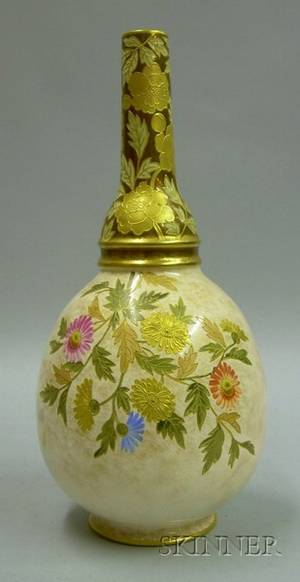 English Worcesterstyle Handpainted Gilt Enameled and Floral Decorated Ceramic Bottle Vase