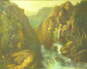 Framed 19th Century American School Oil on Canvas Landscape with an Indian Cave at a River Gorge