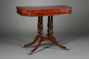 Classical Inlaid Carved Mahogany Games Table