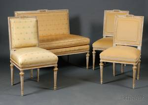 Fourpiece Suite of Louis XVI Style Graypainted and Parcelgilt Seating Furniture