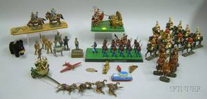 Two Small Sets of German and Italian Handpainted Composition Toy Soldiers and a Group of Approximately Thirty