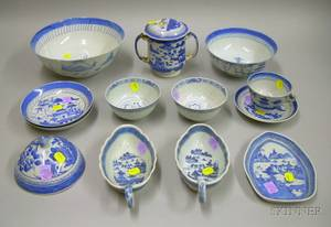 Thirteen Pieces of Chinese Export Porcelain Mostly Canton Blue and White Tableware