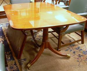 Regencystyle Mahogany Double Pedestal Dining Table and a Set of Eight Kittinger Chippendalestyle Upholstered Carved Mahogany Armchair