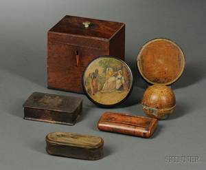 19th Century Inlaid Mahogany Veneer Tea Caddy Six Snuff Boxes and a Travel Inkwell