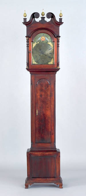 Bucks County Pennsylvania Chippendale walnut tall case clock ca 1775