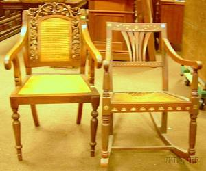 Caned Carved Hardwood Armchair and a Motherof pearl Inlaid Hardwood Armrocker