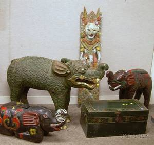Five Asian Carved and Painted Wooden Figurals and a Lidded Box