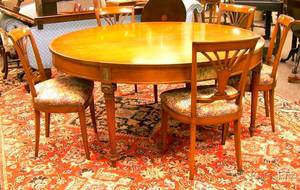 Louis XVI Style Circular Inlaid Carved and Paint Decorated Dining Table with a Set of Six Dining Chairs