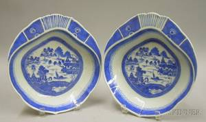 Pair of Chinese Export Porcelain Canton Blue and White Shrimp Dishes