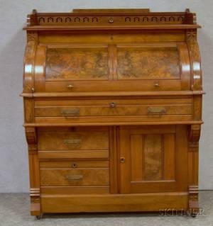 Victorian Eastlaketype Carved Walnut and Burl Veneer Cylindertop Desk