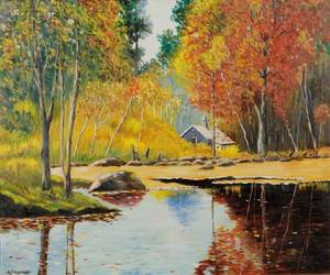 American School 20th Century Pond Landscape with Barn