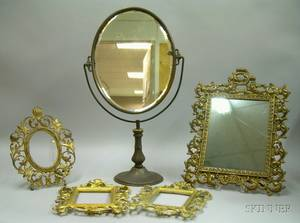 Five Decorative Metal Gilt Cast Iron and Brass Table Mirrors and Frames
