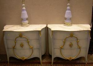Pair of Marbletop Bluepainted ThreeDrawer Stands and a Pair of Painted Glass Table Lamps