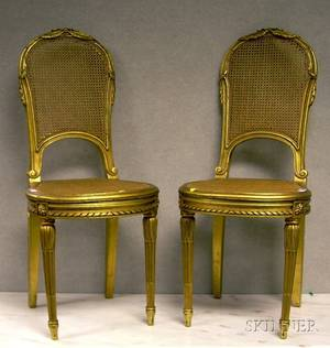 Pair of Louis XVI Style Caned Carved Giltwood Side Chairs