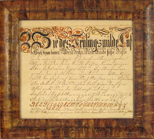 Berks County Pennsylvania ink and watercolor fraktur dated 1856