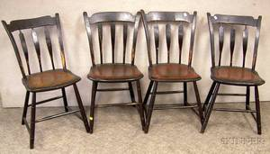 Set of Four Painted Windsor Thumbback Arrowback Side Chairs