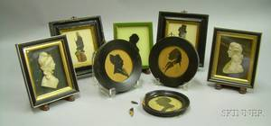 Six Framed Miniature Silhouettes and a Pair of English Wax Relief Portraits