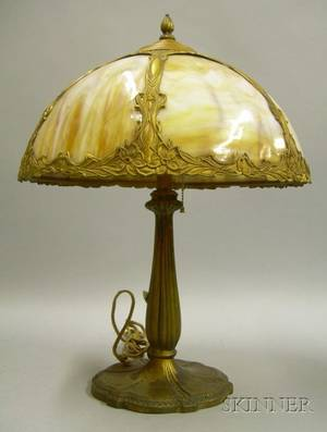 Painted Cast Metal Table Lamp with Caramel Slag Glass Bent Panel Shade