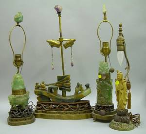 Two Chinese Carved Quartz Table Lamps a Carved Soapstone Figural Table Lamp Base and a Carved Hardstone Boat