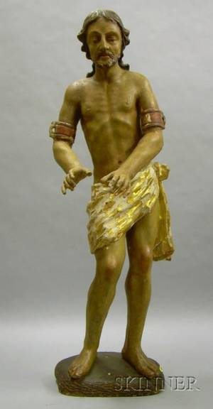 Gilt and Polychrome Painted Carved Wood and Gesso Figure of Christ