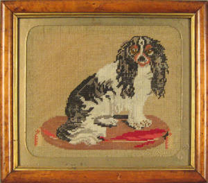 Victorian wool needlework of a dog