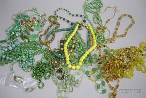 Group of Assorted Art Deco and Later Glass Crystal and Ceramic Beaded Necklaces and Other Jewelry