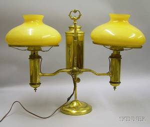 Brass Double Student Lamp with a Pair of Cased Amber Glass Shades