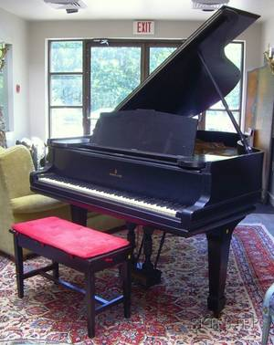 Steinway  Sons Black Lacquered Baby Grand Piano with Bench