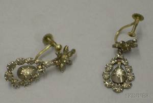 14kt Gold and RoseCut Diamond Earrings