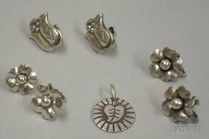 Three Pairs of LaPaglia for Georg Jensen USA Sterling Silver Earrings and a Georg Jensen USA Sterling Silver Pendant