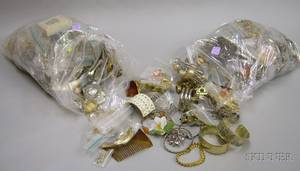 Two Bags of Assorted Vintage to Modern Costume Jewelry
