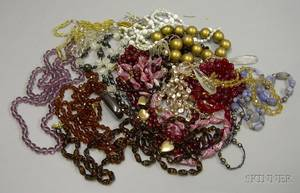 Group of Assorted Art Deco and Later Beaded Necklaces