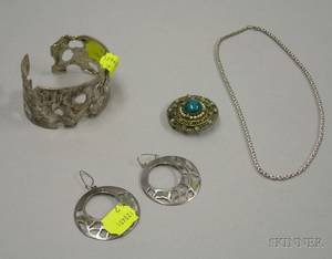 Artistdesigned Sterling Silver Cuff a Pair of Mexican Silver Earrings an Israeli Gilt Silver Brooch and a Sterling Silver