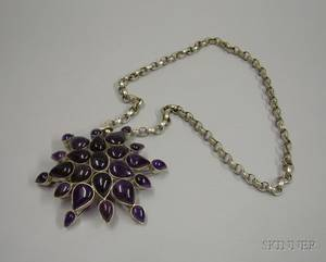 Oversized Mexican Silver and Purple Quartz Pendant Necklace