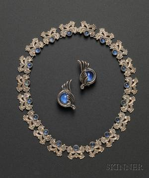 Margot de Taxco Sterling Silver and Blue Glass Choker and Similar Earrings