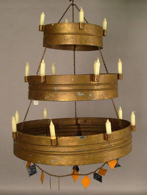Painted tin threetier chandelier