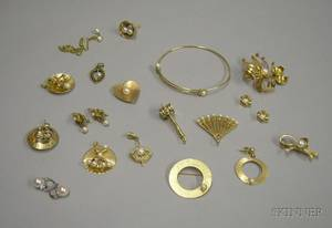Group of Assorted Mostly 14kt Gold and Pearl Jewelry