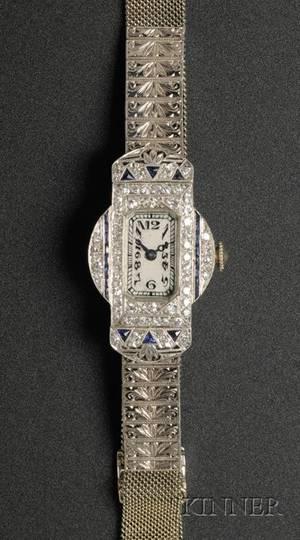 Ladys Art Deco Waltham Platinum 18kt White Gold Diamond and Sapphire Wristwatch