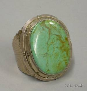 Southwestern Sterling Silver and Faux Turquoise Cuff Bracelet