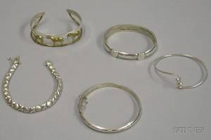 Five Sterling Silver Bracelets