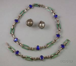 Pair of Georg Jensen Denmark Sterling Silver Earclips and a Sterling Silver Enamel and Paste Necklace and Bracelet Suite