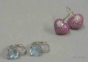 Pair of 14kt White Gold and Aquamarine Earrings and a Pair of 14kt White Gold and Pave Pink Sapphire and Diamond Earringse1