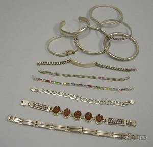 Twelve Bangle Cuff and Other Sterling Silver Bracelets