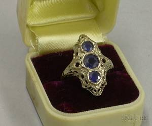 Art Deco 14kt White Gold and Sapphire Ring